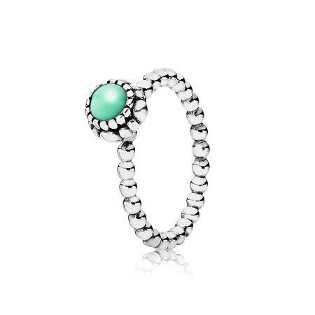 Silver ring, birthstone-May, chrysoprase