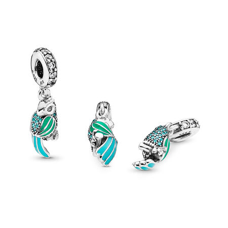 Tropical Parrot, Mixed Enamels, Teal & Clear CZ, Sterling silver, Enamel, Green, Cubic Zirconia - PANDORA - #791903ENMX