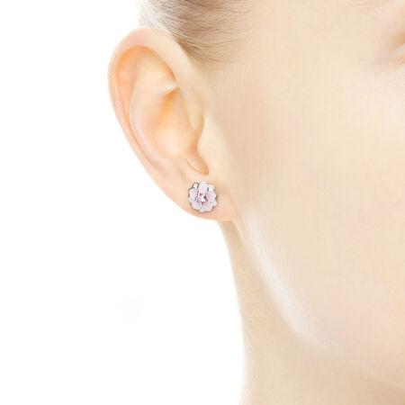 Magnolia Bloom, Pale Cerise Enamel & Pink CZ, Sterling silver, Enamel, Pink, Cubic Zirconia - PANDORA - #290739PCZ