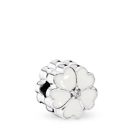 White Primrose, White Enamel & Clear CZ, Sterling silver, Enamel, White, Cubic Zirconia - PANDORA - #791822EN12