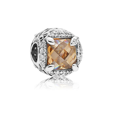 Radiant Grains of Energy Charm, Clear & Golden coloured CZ