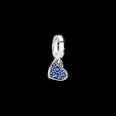Charm-pendentif Cœur incliné en pavé bleu stellaire