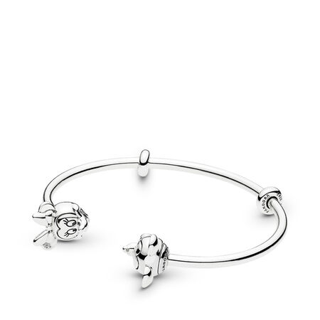 Disney Mickey & Minnie Open Bangle Charm Bracelet