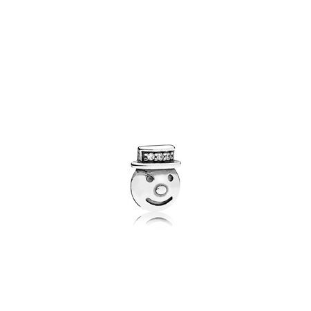Happy Snowman Petite Charm, Clear CZ