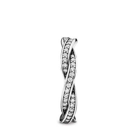 Twist Of Fate Stackable Ring, Clear CZ