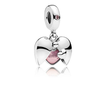 Family Locket Dangle Charm, Pink Crystal & Pink Enamel