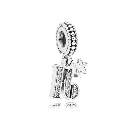 Charm pendentif 16 ans d'amour, cz incolore