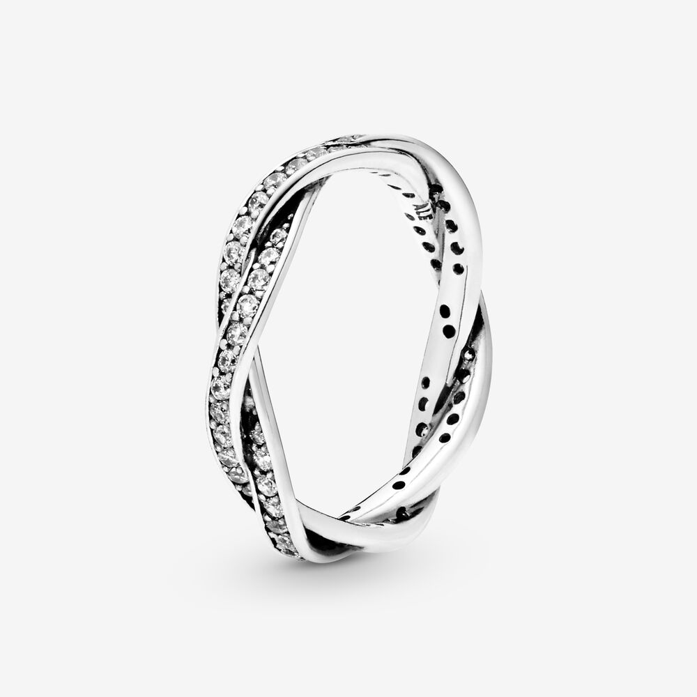 Twist Of Fate Stackable Ring with Clear CZ | Argent sterling ...