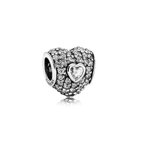 Dans mon cœur, cz incolore, Argent sterling, Aucun autre matériel, Aucune couleur, Zircon cubique - PANDORA - #791168CZ