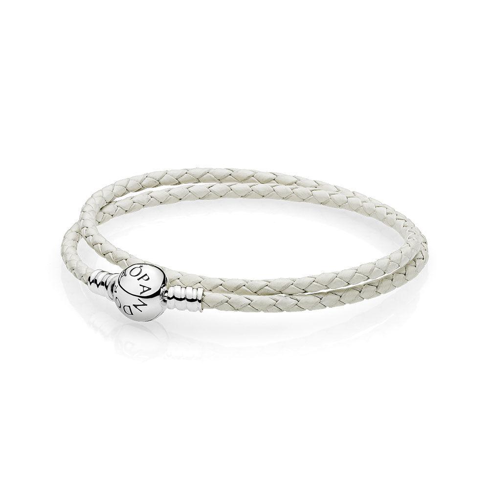 Ivory White Braided Double Leather Charm Bracelet
