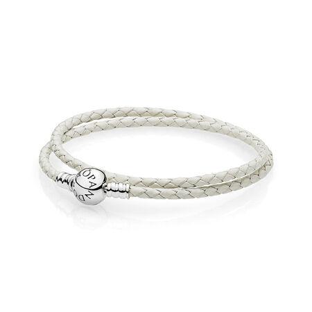Ivory White Braided Double-Leather Charm Bracelet