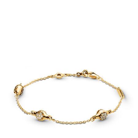 Modern LovePods™ PANDORA Shine™ Bracelet, Clear CZ, 18ct gold-plated sterling silver, Cubic Zirconia - PANDORA - #567354CZ