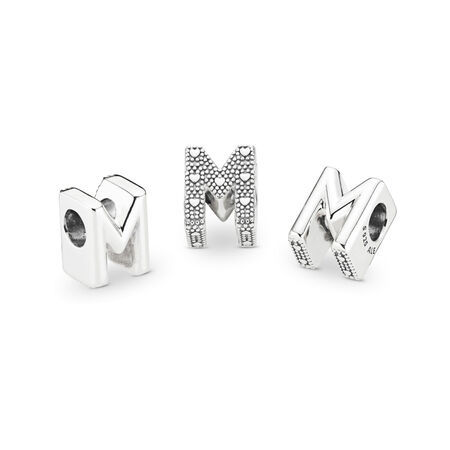 Letter M Charm, Sterling silver - PANDORA - #797467