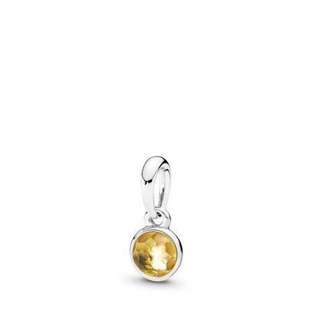 November Droplet, Citrine, Sterling silver, Yellow, Citrine - PANDORA - #390396CI