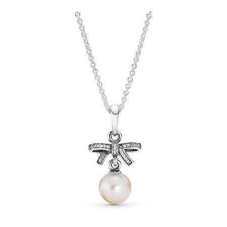 Delicate Sentiments, White Pearl & Clear CZ, Sterling silver, White, Mixed stones - PANDORA - #390380P