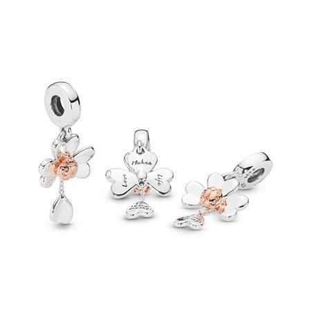 Charm-pendentif Trèfle et coccinelle, PANDORA Rose with sterling silver, Aucun autre matériel, Aucune couleur, Aucune pierre - PANDORA - #787877