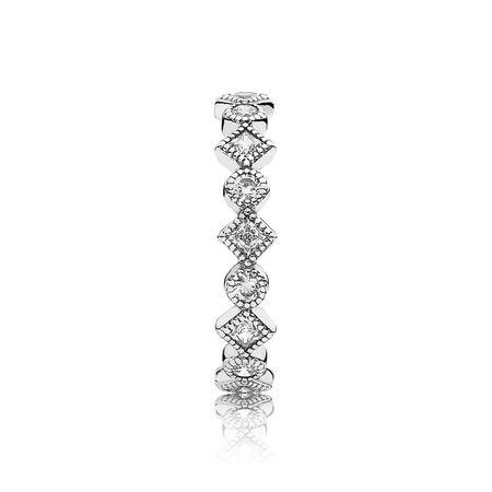 Alluring Brilliant Princess Stackable Ring, CZ, Sterling silver, Cubic Zirconia - PANDORA - #190943CZ