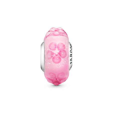 Charm Fleur rose en verre de Murano