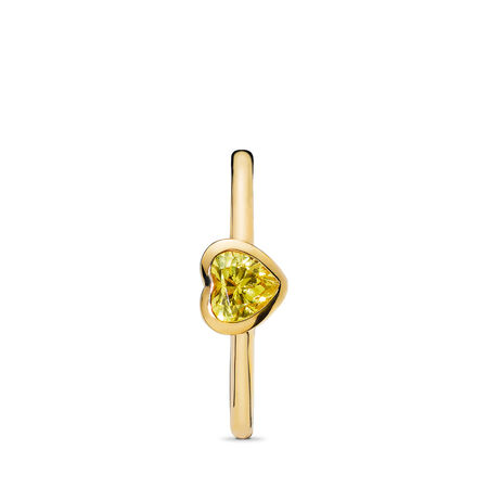 Radiant Heart Ring, PANDORA Shine™ & Yellow Cubic Zirconia, 18ct gold-plated sterling silver, Yellow, Cubic Zirconia - PANDORA - #167089CSY-52