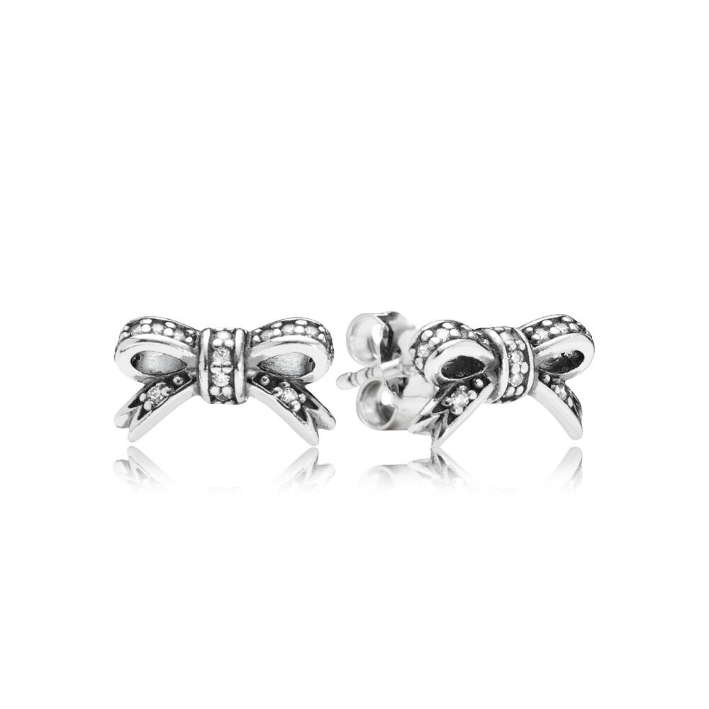 6a494403f Sparkling Bow Stud Earrings, Clear CZ
