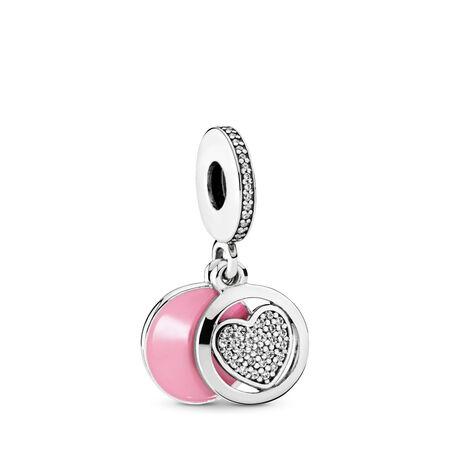 Devoted Heart, Pink Enamel & Clear CZ
