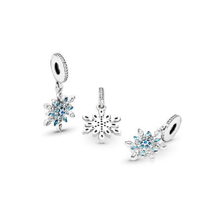 Crystalized Snowflake, Blue Crystals & Clear CZ, Sterling silver, Blue, Mixed stones - PANDORA - #791761NBLMX