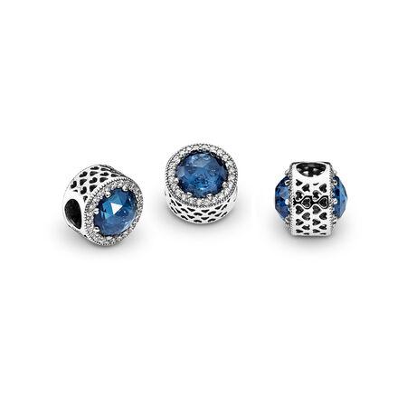 Cœurs radieux, cristal bleu lunaire et CZ incolore, Argent sterling, Aucun autre matériel, Bleu, Pierres mélangées - PANDORA - #791725NMB