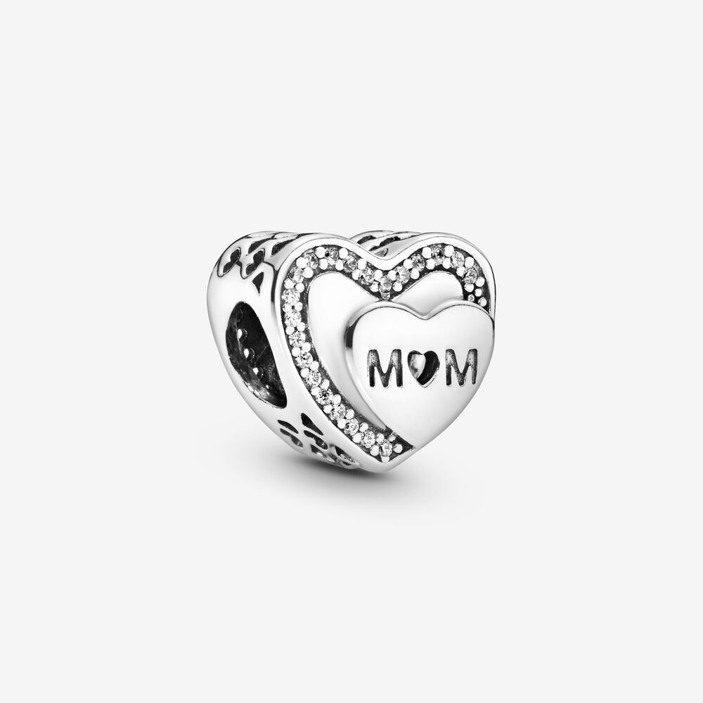 Charm Cœur scintillant avec inscription « Mom » | Argent sterling ...