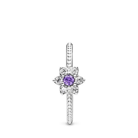 Forget Me Not, Purple & Clear CZ