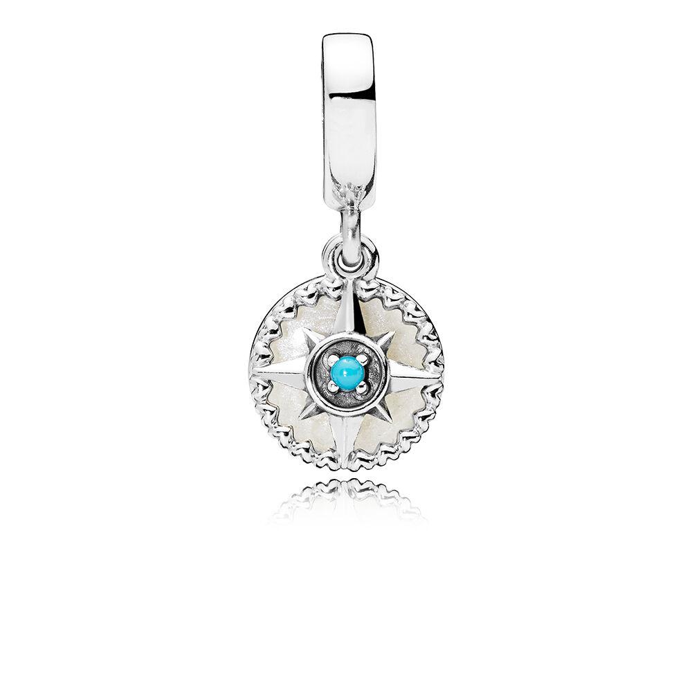 Compass Rose Dangle Charm Silver Enamel Cyan Blue Crystal