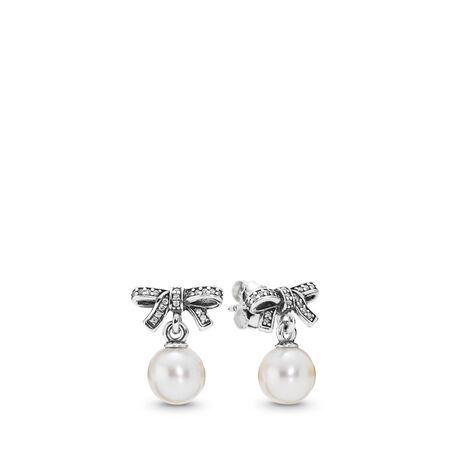 Beaux sentiments, perle blanche et cz incolore, Argent sterling, Aucun autre matériel, Blanc, Pierres mélangées - PANDORA - #290596P