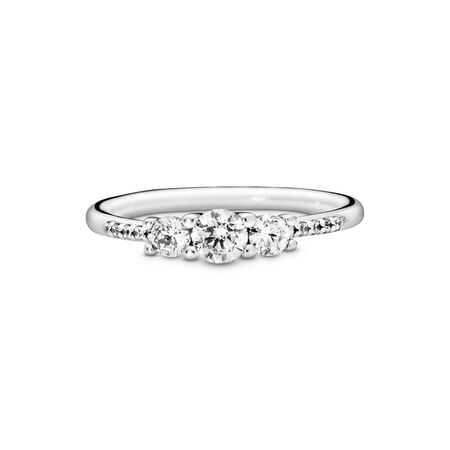Clear Three-Stone Ring, Sterling silver, Cubic Zirconia - PANDORA - #196242CZ