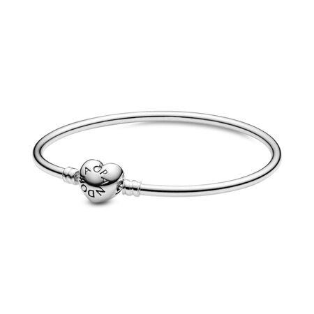Bracelet rigide, fermoir logo en cœur, Argent sterling, Aucun autre matériel, Aucune couleur, Aucune pierre - PANDORA - #596268
