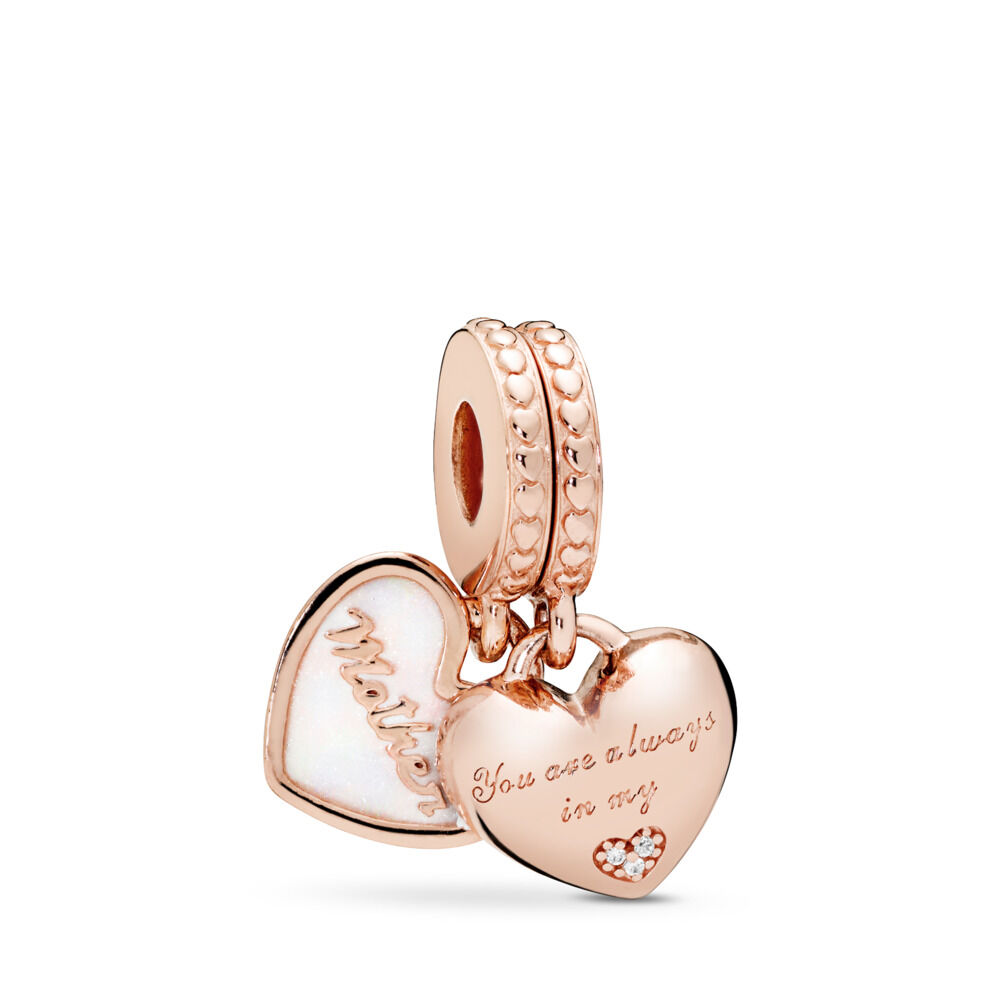 388d4621f Mother & Daughter Hearts Dangle Charm, PANDORA Rose™, Silver Enamel & Clear  CZ