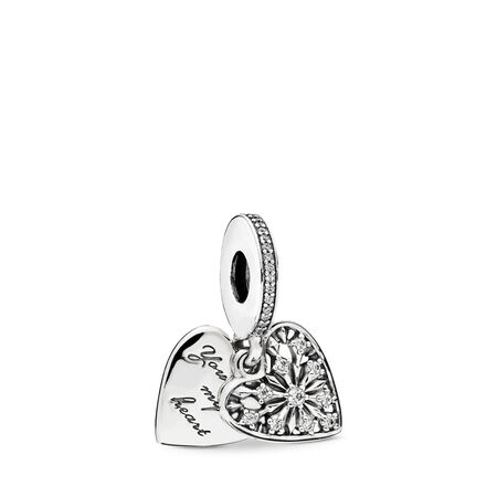 Heart of Winter Dangle Charm, Clear CZ, Sterling silver, Cubic Zirconia - PANDORA - #796372CZ