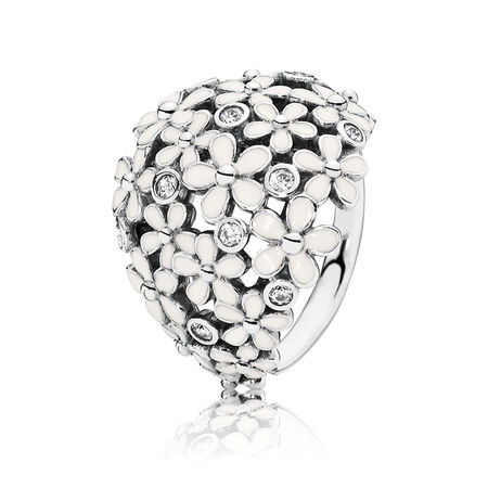 Darling Daisy Bouquet Ring, White Enamel & CZ