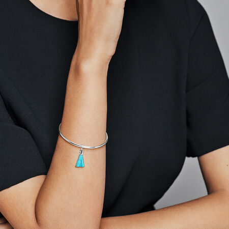 Charm pendentif pampille de tissu turquoise en édition limitée