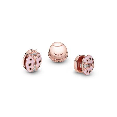 Charm Coccinelle rose Pandora Reflexions, PANDORA ROSE, émail, Pierres mélangées - PANDORA - #787970EN160