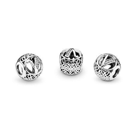 Vintage V, Clear CZ, Sterling silver, Cubic Zirconia - PANDORA - #791866CZ
