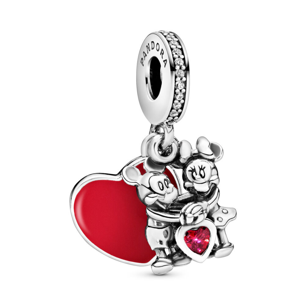 173b27711 Disney, Minnie & Mickey With Love Dangle Charm, Sterling silver, Enamel,  Cubic