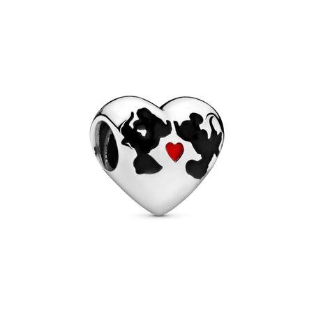 Disney, Minnie Mouse & Mickey Mouse Kiss Charm, Sterling silver, Enamel, Black - PANDORA - #791443ENMX