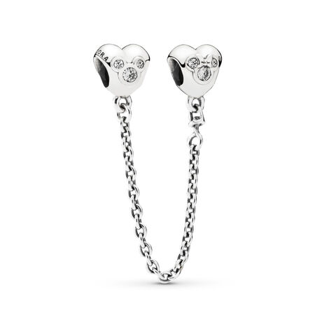 Disney Mickey silver safety chain with cubic zirconia, Sterling silver, Cubic Zirconia - PANDORA - #791704CZ