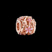 Openwork Pink Daisy Flower Charm