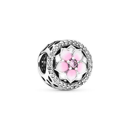 Fleur de magnolia, émail cerise pâle et cz roses et incolores, Argent sterling, émail, Rose, Zircon cubique - PANDORA - #792085PCZ