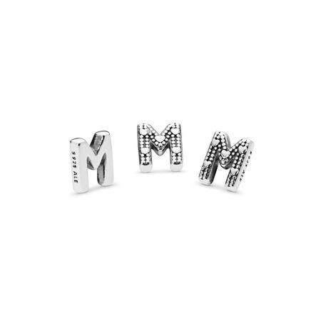 Mini Lettre M, Argent sterling, Aucun autre matériel, Aucune couleur, Aucune pierre - PANDORA - #797331