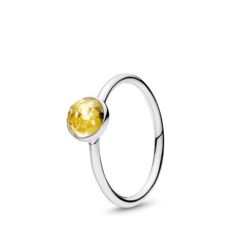 November Droplet, Citrine, Sterling silver, Yellow, Citrine - PANDORA - #191012CI