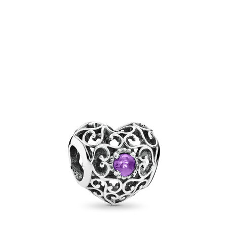 February Signature Heart, Synthetic Amethyst, Sterling silver, Purple, Synthetic Amethyst - PANDORA - #791784SAM