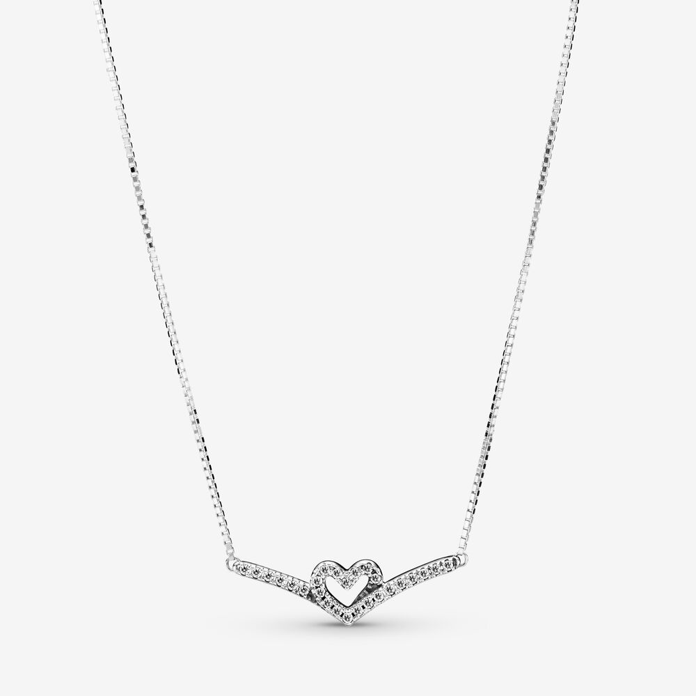 Sparkling Wishbone Heart Collier Necklace | Sterling silver ...