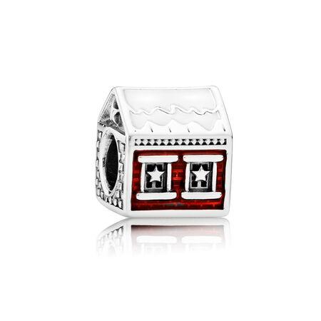 Santa's Home, White & Translucent Red Enamel