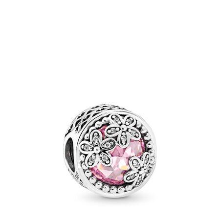 Champ de marguerites éblouissantes, cz roses et incolores, Argent sterling, Aucun autre matériel, Rose, Zircon cubique - PANDORA - #792055PCZ